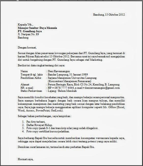 Contoh Surat Lamaran Kerja Bahasa Inggris Terbaru Kumpulan Tips