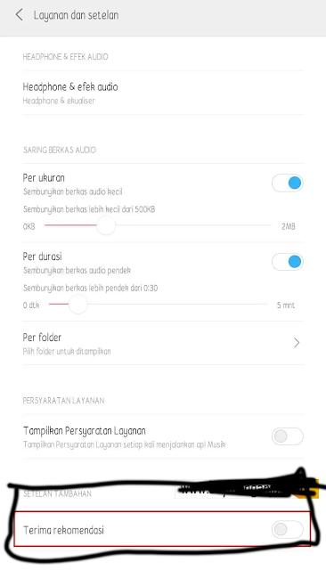 Matikan Recomended Apps di Musik Player Xiaomi