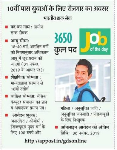 भारतीय डाक सेवा में दसवीं पास युवाओं के लिए निकली 3650 पदों पर भर्तियां