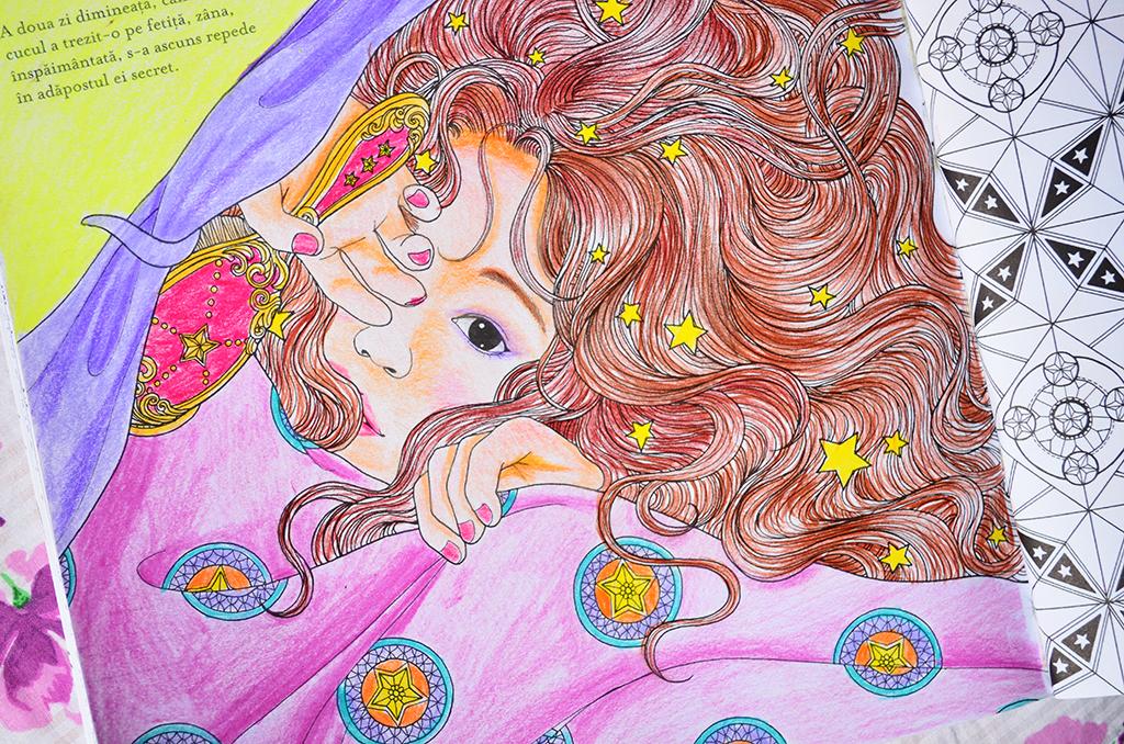 carte de colorat adulti camera timpului daria song fata cu praf de stele in par