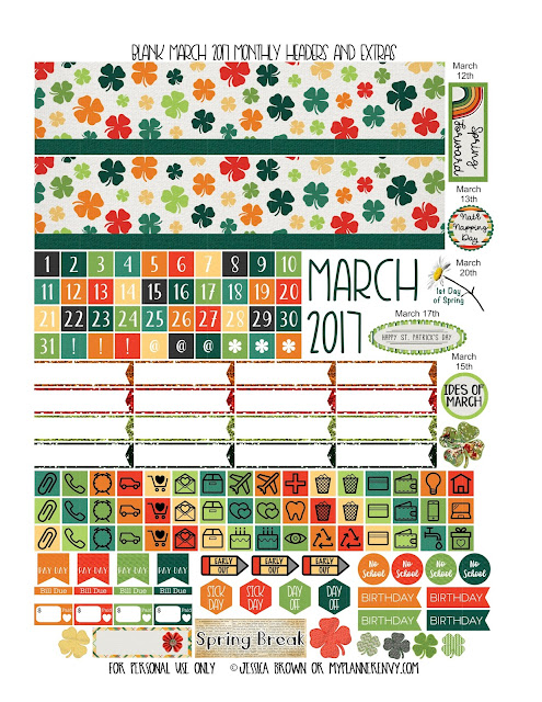 Free Printable Blank March 2017 Monthly Headers & Extras from myplannerenvy.com