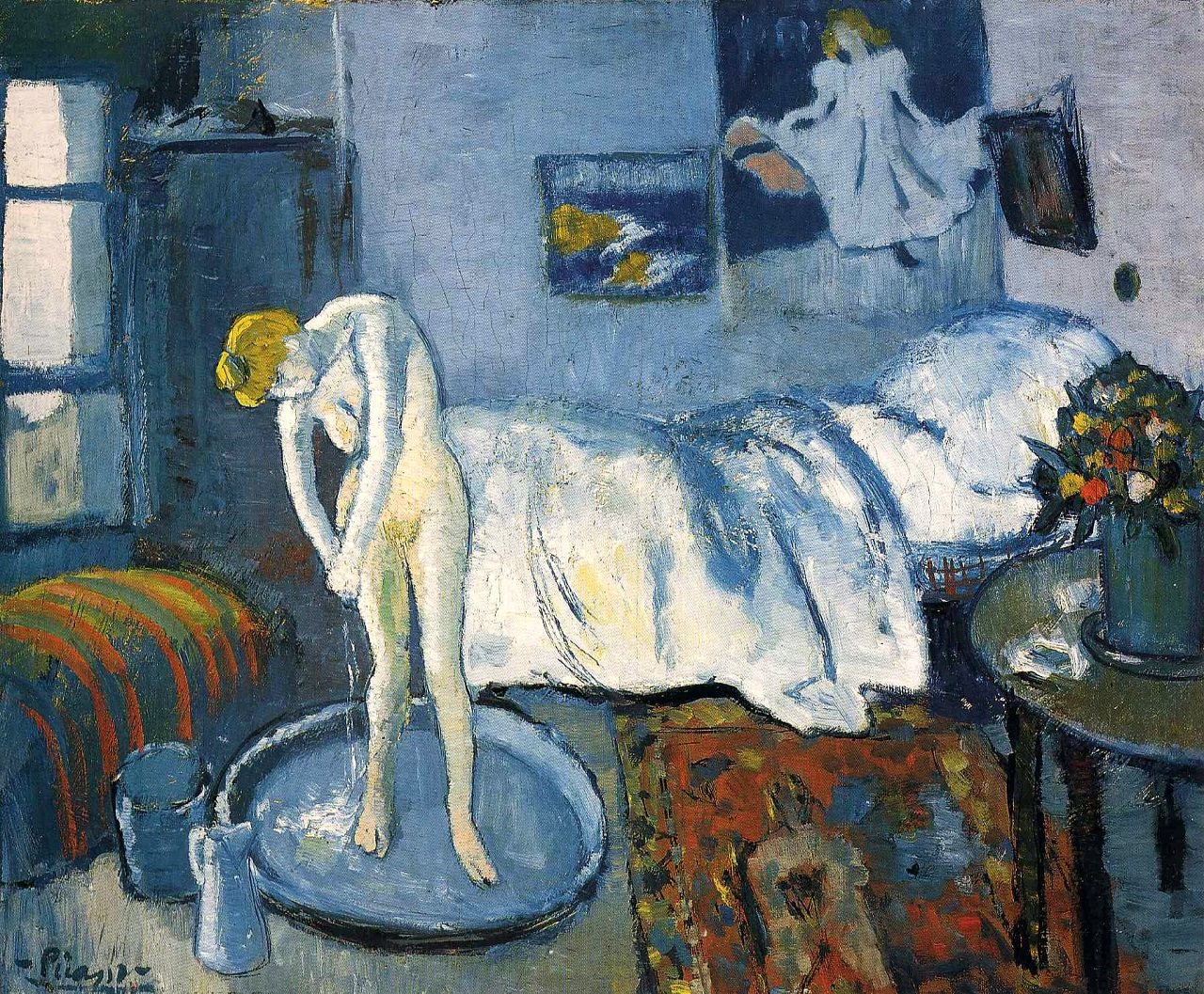 Pablo Picasso's The Blue Room, created in 1901, belongs to Blue Period of cubist painter. It depicts a woman bathing in tub.