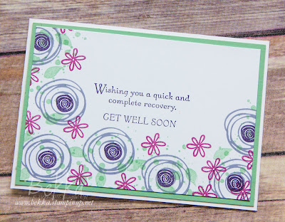 Get Well Soon Card featuring Swirly Bird from Stampin' Up! UK  Buy Stamps here
