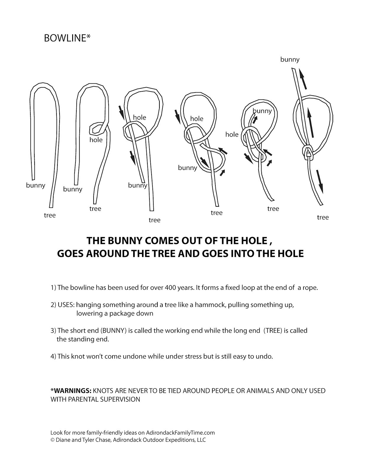 Free Activity Learn To Tie A Bowline Print Out This Knot