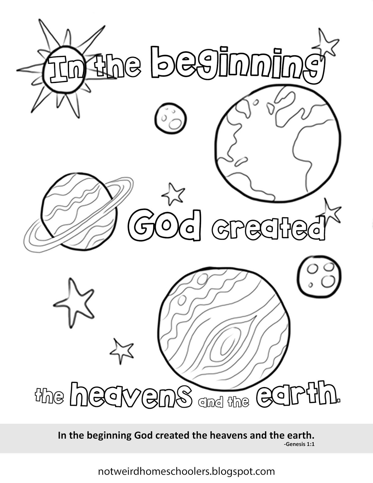 Free Homeschooling Resource Genesis 1 1 Coloring Page