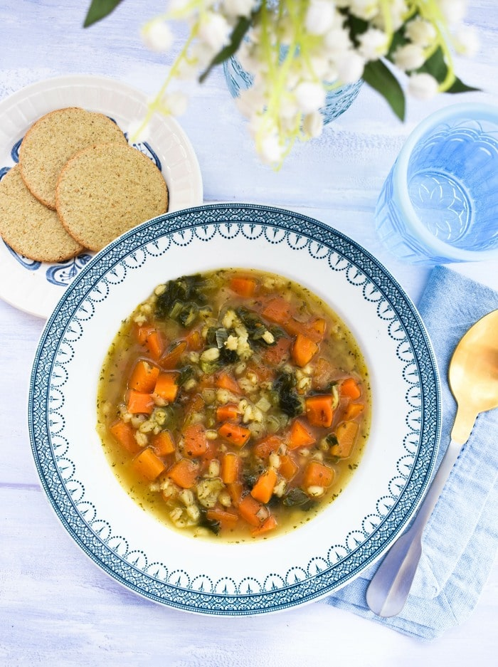 Scotch broth served with Scottish oatcakes