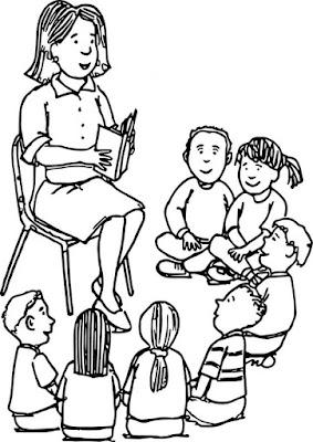 Hình tô cô giáo đọc sách cho học sinh