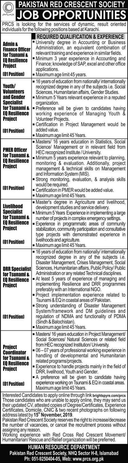 Pakistan Red Crescent Society PRCS Jobs 2019 Karachi Latest