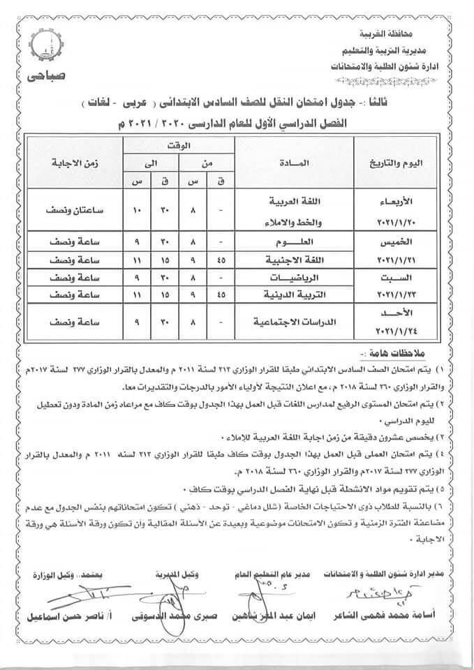 جدول إمتحانات صف سادس ابتدائي 2021 ترم أول محافظة الغربية