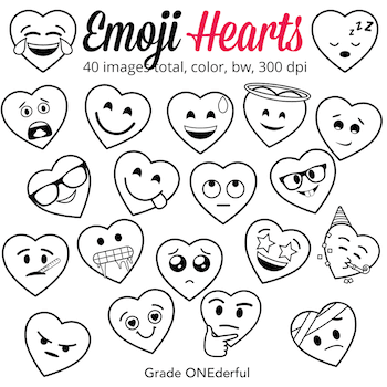 Clip Art Hearts with Emoji Faces. These hearts are 8 inches wide and can be used in a TON of different ways. The images are clear, crisp and oh so cute!