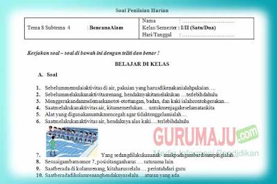 Soal PH / UH PJOK Kelas 1 Tema 8 Kurikulum 2013 Tahun 2019