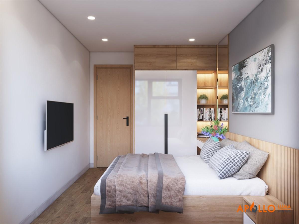 Thiết kế phòng ngủ mẫu 1: Phong cách đơn giản hiện đại và tươi trẻ