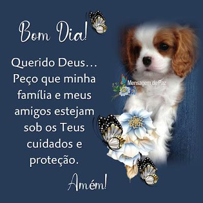 Querido Deus...  Peço que minha família   e meus amigos estejam sob  os Teus cuidados e proteção.  Amém!  Bom Dia!