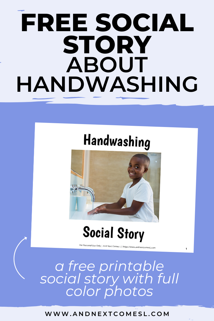 Free printable social story for kids with autism about handwashing