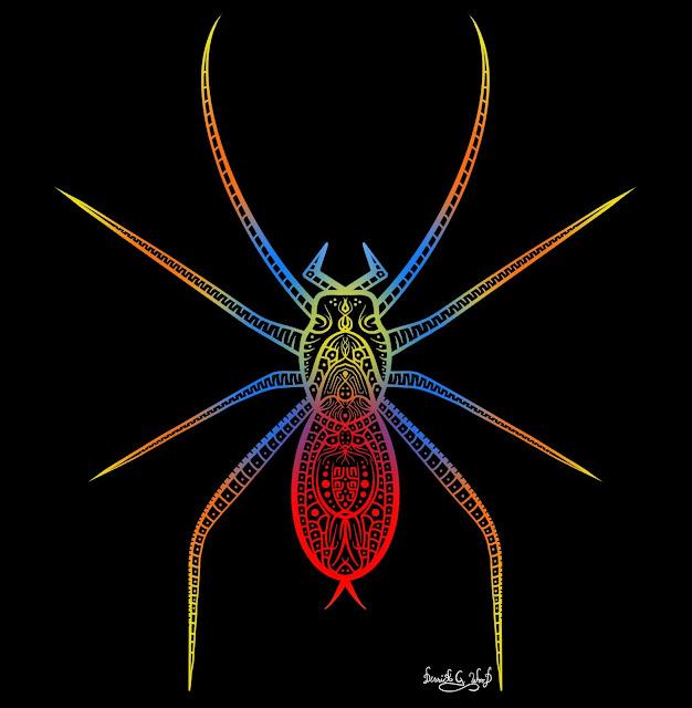 spider art spiders pretty beautiful arachnids rainbow