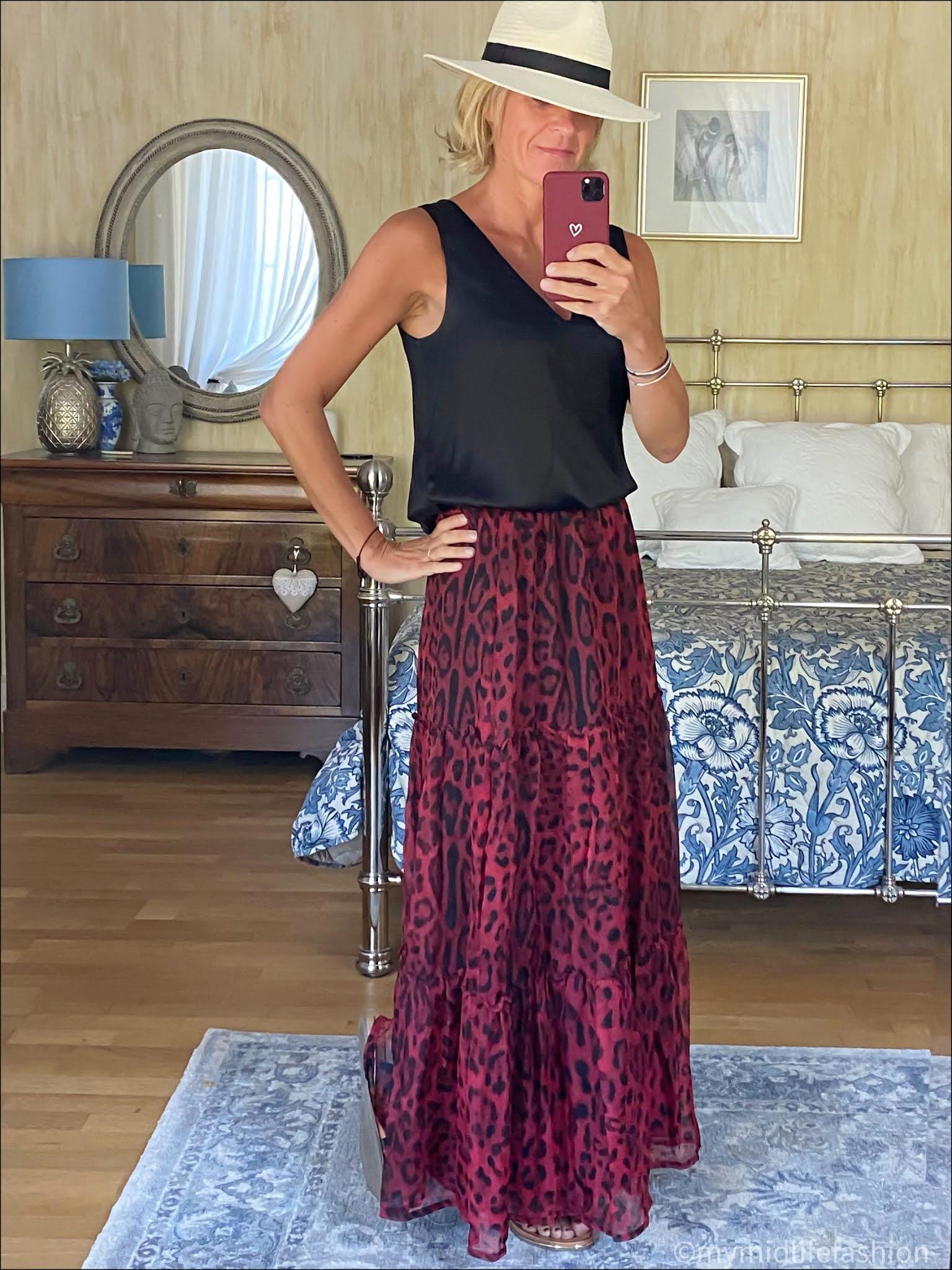 my midlife fashion, Zara Panama hat, Marks and Spencer silk top, Ridley London leopard print maxi tiered skirt, carvela karafe sandals