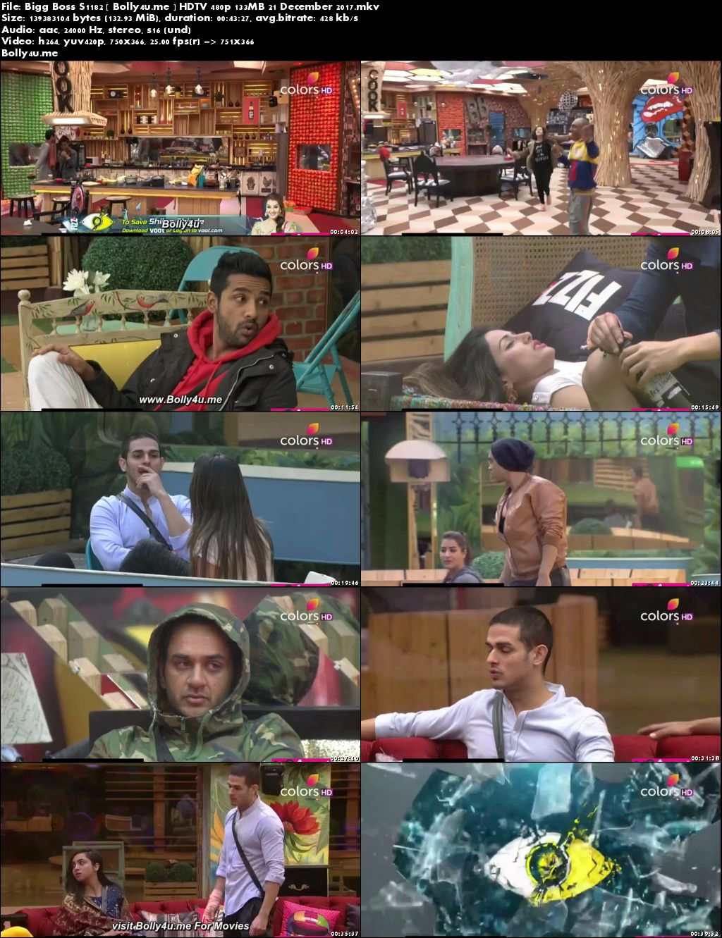 Bigg Boss S1182 HDTV 480p 130MB 21 Dec 2017 Download