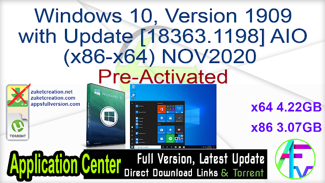 Windows 10, Version 1909 with Update [18363.1198] AIO (x86-x64) NOV2020 Pre-Activated