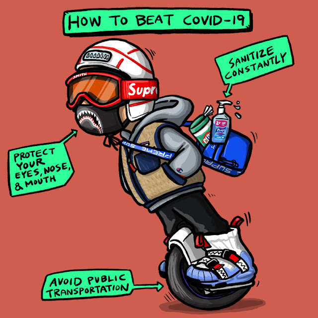 How to Beat Covid-19 - Sanitize constantly - Protect your eyes, nose & mouth - Avoid public transportation