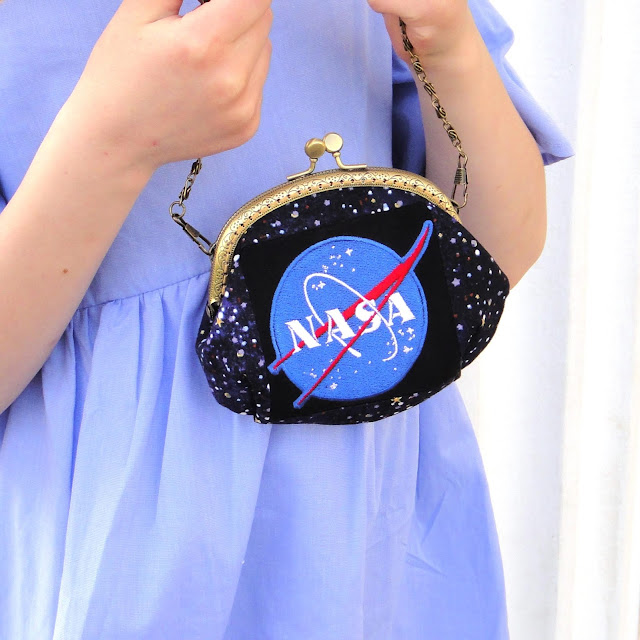 Сумка для девушки подростка Космос Nasa - сумочка на цепочке, синяя маленькая сумка