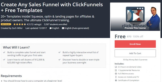 [100% Off] Create Any Sales Funnel with ClickFunnels + Free Templates| Worth 70$