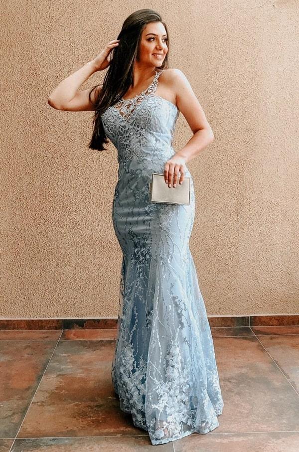 vestido longo azul serenity para madrinha de casamento a noite