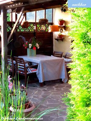 Terrasse: geschützter Sitzplatz