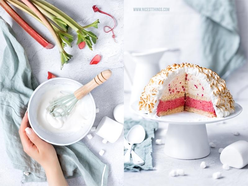 Baked Alaska Eisbombe Omelette Norvégienne Rezept Rhabarber Marshmallow