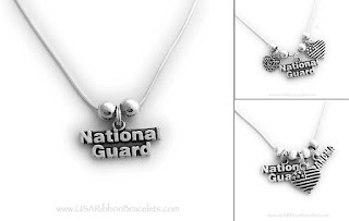 This National Guard Grandma Necklace is shown with a National Guard Charm, Grandma Charm and a Heart Flag Charm.  Link: https://usaribbonbracelets.com/necklaces8NationalGuard.html