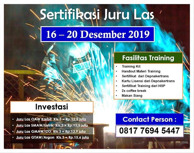 Training Juru Las (Welder) tgl. 16-20 Desember 2019