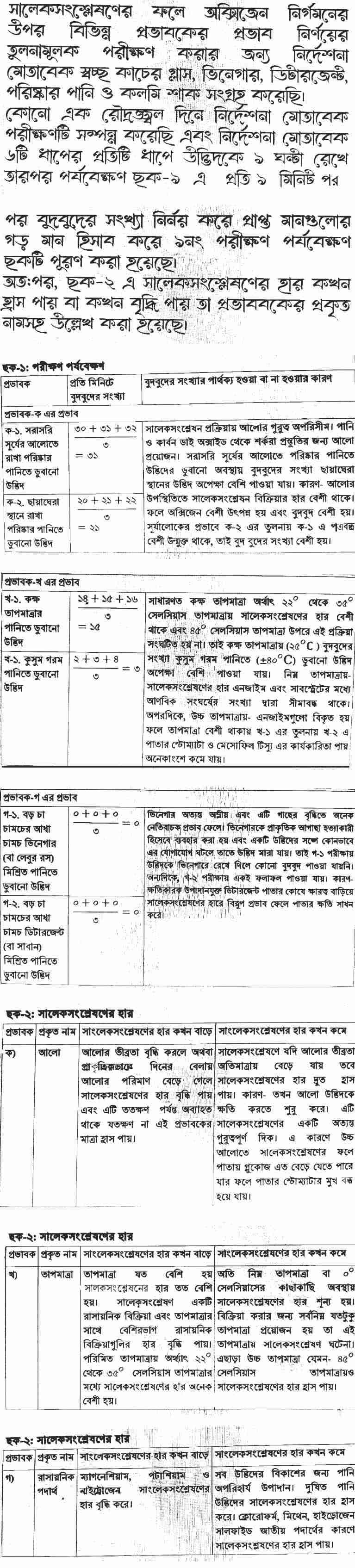 Exam 2021 Biology SSC 4th Week Assignment with Answer