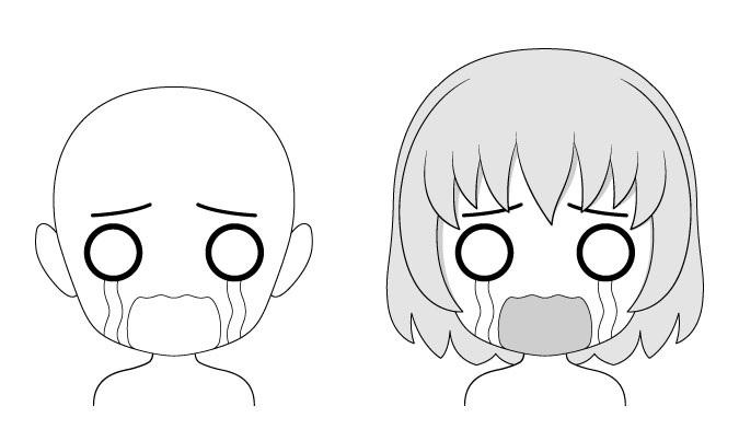 Ekspresi wajah anime Crying chibi