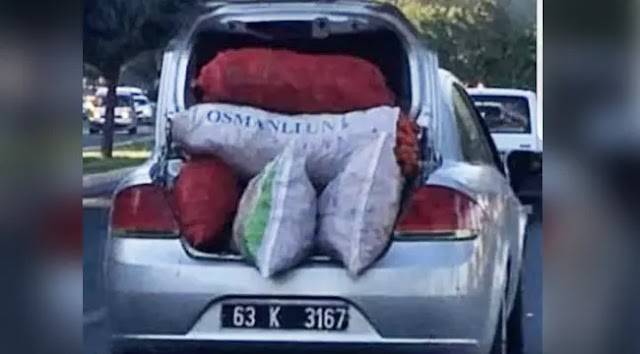 Resmi araçla biber taşıyan araç gündeme düştü