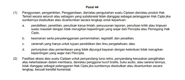 Pasal 44 Undang-Undang Hak Cipta No. 28 Tahun 2014