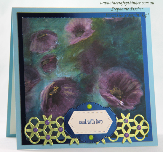 #thecraftythinker  #stampinup  #cardmaking  #sdbh  #simplecard , Wild Rose dies, Perennial Essence DSP, Simple Card, Stampin' Dreams Blog Hop, Stampin' Up Australia Demonstrator, Stephanie Fischer, Sydney NSW