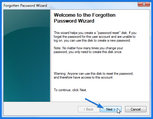 Windows 7 Password Reset Disk Wizard