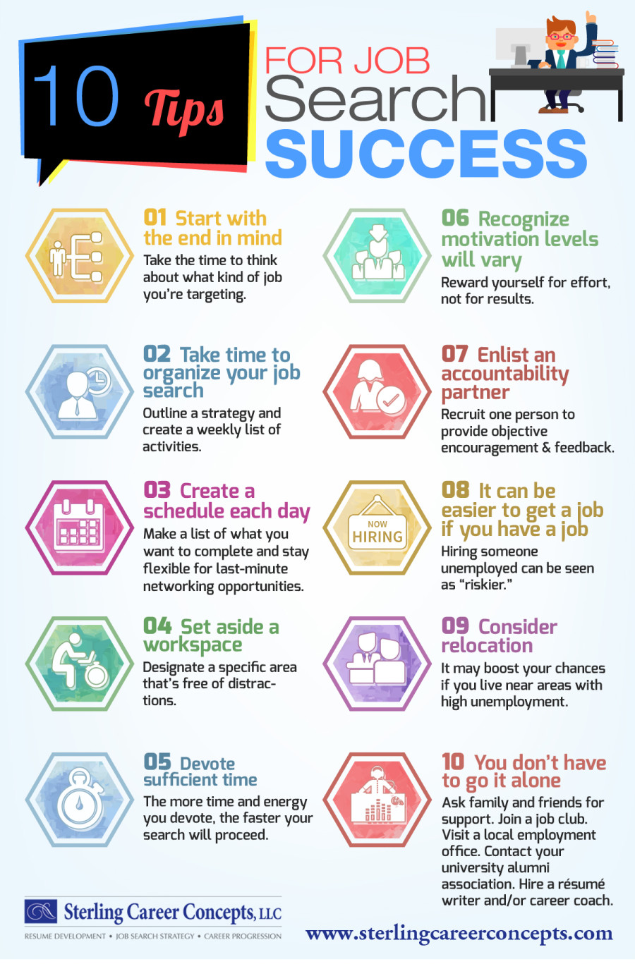 10 Tips for Job Search Success #infographic #Career #Jobs #Success #infographics #Job Search Success #Infographic