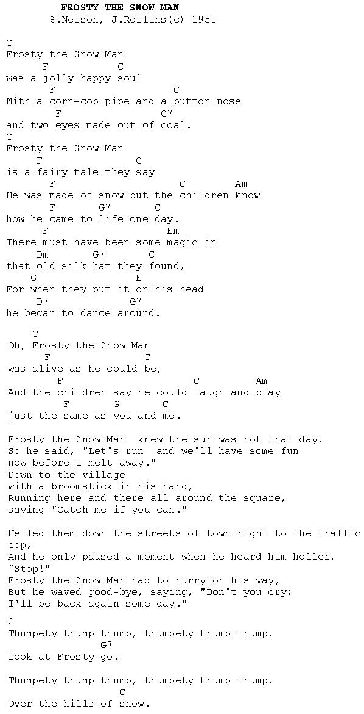 Lyric songs with apple in the lyrics : Frosty the Snowman : Christmas Carols - Lyrics and History
