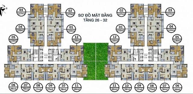 Sơ đồ mặt bằng tầng 26 - 32 Goldsilk Complex