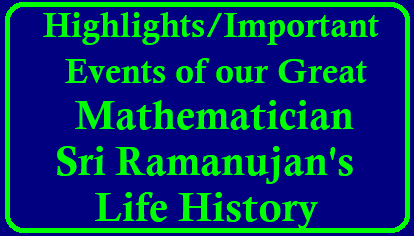 Highlights of Mathematician Sri Ramanujans Life History Highlights of Mathematician Sri Ramanujans Life History | Important events of Ramanujans Lifehistory | Views aboutRamanujan by other Mathematicians | Properties of Ramanujan Number | Play with 1979 | Importance of Ramanujan Number 1979 | Nested squareroots | magic squares | Ramanujans Aesthetic sense | Theory of partitions of a number | pi value given by Ramanujan in different ways | Ramanujans Contributions | Magic of 1729 /2017/12/impotant-events-highlights-of-mathematician-sri-ramanujans-life-history-ramanujans-number-information-essay-about-ramanujan-download.html