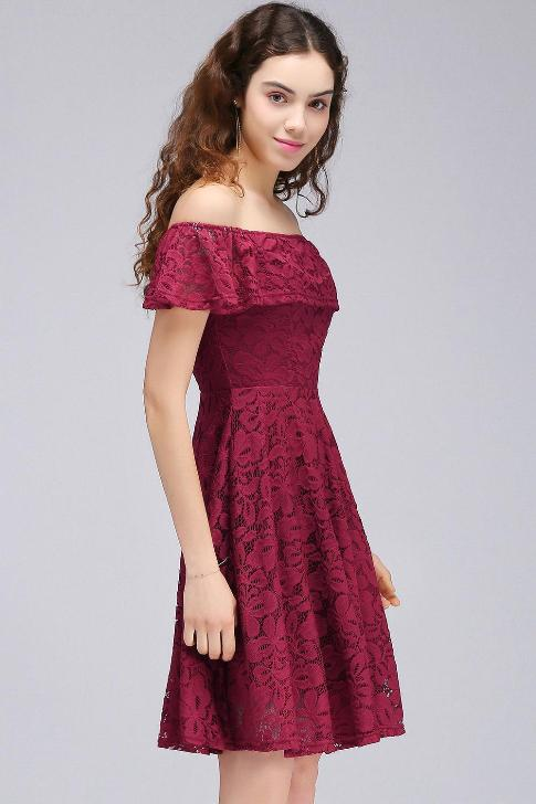 Short Burgundy Off-the-Shoulder Lace Sheath Homecoming Dresses-Factory price: US $119.00