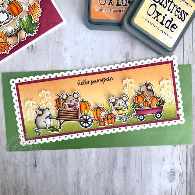 Sunny Studio Stamps: Harvest Mice Bountiful Autumn Slimline Dies Fancy Frame Dies Fall Themed Cards by Tammy Stark