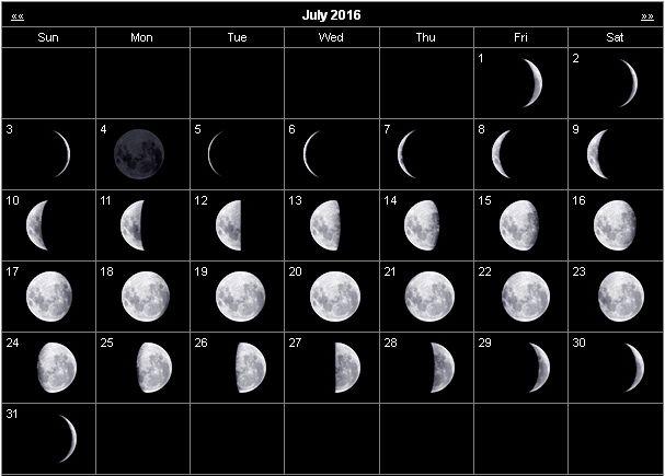 July 2016 Calendar, July 2016 Moon Phases Calendar, July 2016 Calendar ...