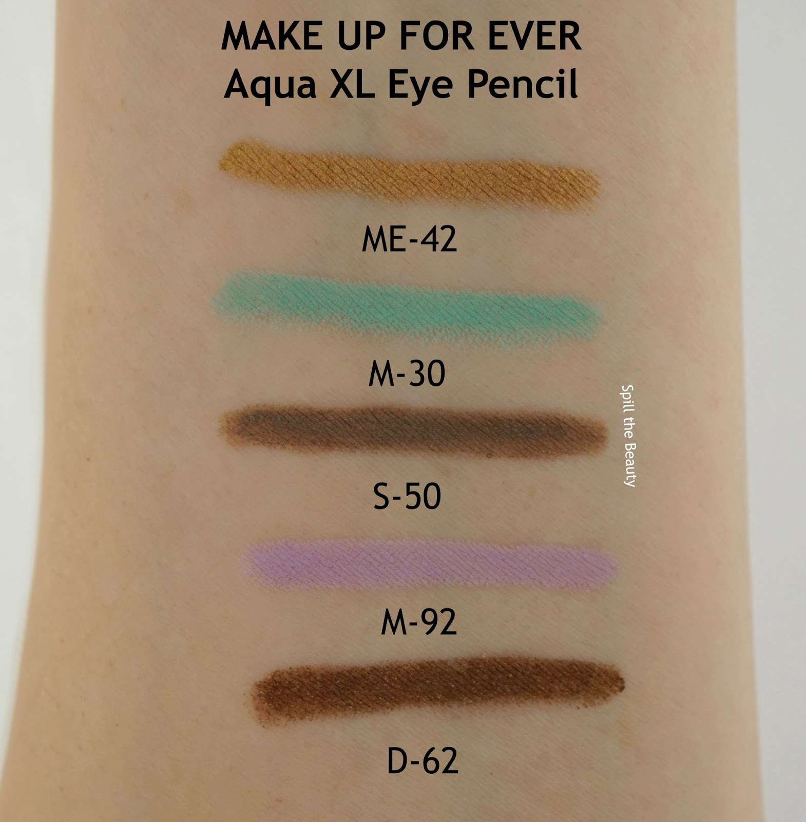 make up for ever aqua xl eyeliner review arm swatches me-42 m-30 s-50 m-92 d-62
