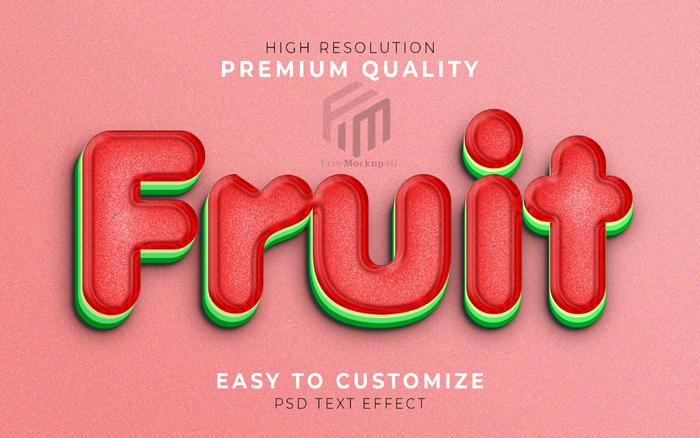 Fruit 3D Text Style Effect Template Watermelon