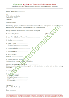 format of application form for nativity certificate