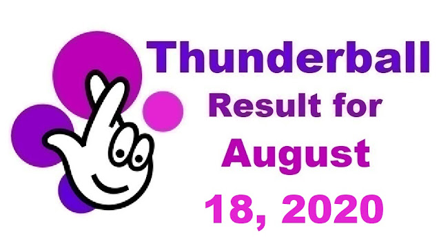 Thunderball Results for Tuesday, August 18, 2020