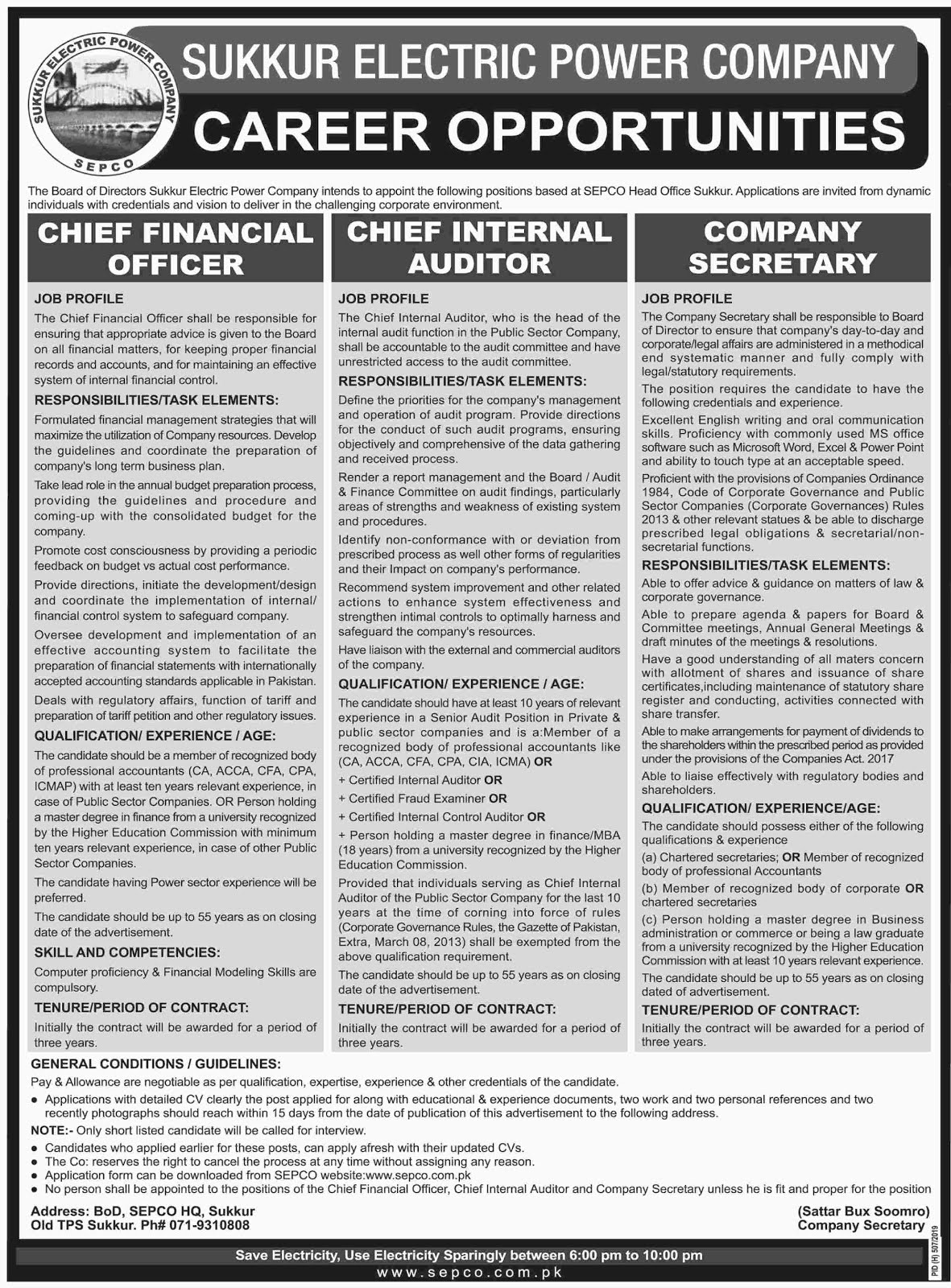 Sukhur Electric Power Supply Company Jobs For Chief Financial officer, Chief Internal Auditor and Others Jobs 2019 (3008 Posts)