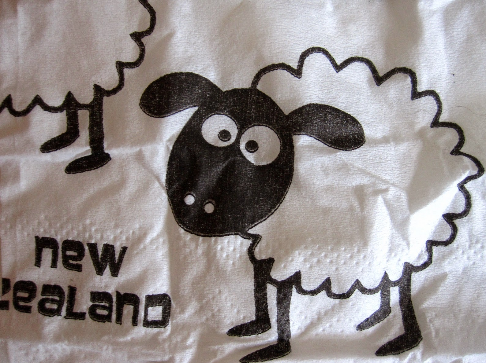 Cartoon of a sheep with the words 'New Zealand' written next to it.