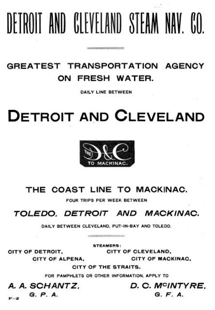 Handbill Detroit and Cleveland Steamer Co.
